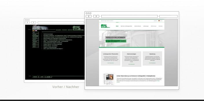 """Referenz """"ATS Sachse"""" Webdesign vorher/nachher"""