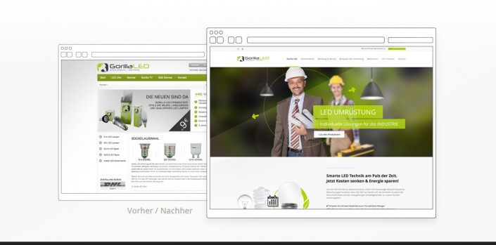 "Referenz ""Gorilla LED GmbH"" Webdesign vorher/nachher"
