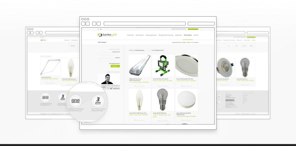 "Referenz ""Gorilla LED GmbH"" Webdesign"