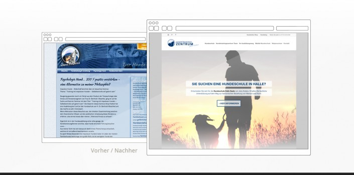 """Referenz """"Hundetrainingszentrum"""" Webdesign vorher/nachher"""
