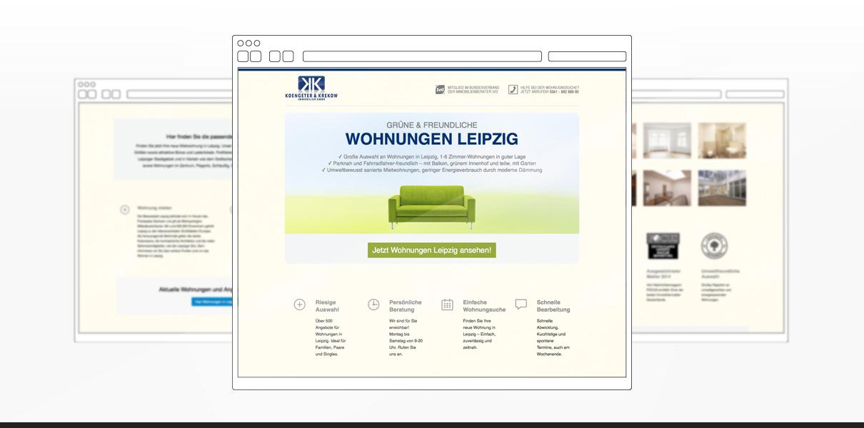 """Referenz """"Koengeter & Krekow Immobilien GmbH"""" Webdesign"""