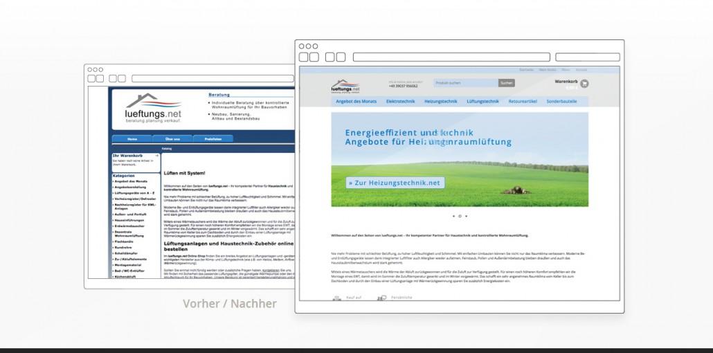 """Referenz """"Lueftungs.net"""" Webdesign Vorher/Nachher"""