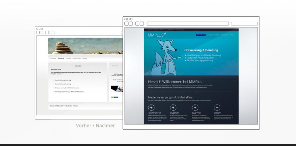 """Referenz """"MMPlus GmbH"""" Webdesign vorher/nachher"""