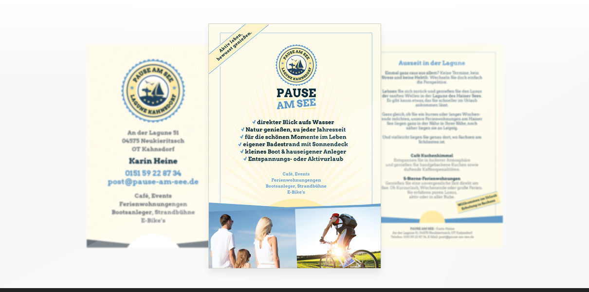 "Corporate Design Referenz des Kunden ""Pause am See"""